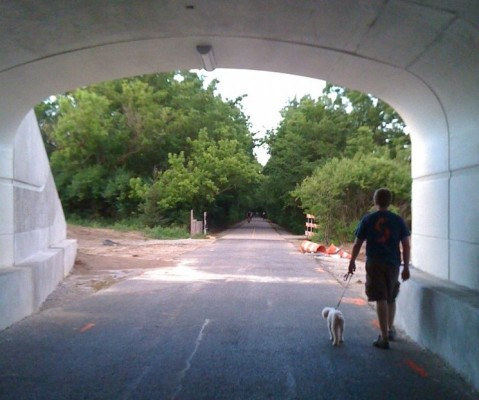 Robert and Ellie walking on the Monon Trail.