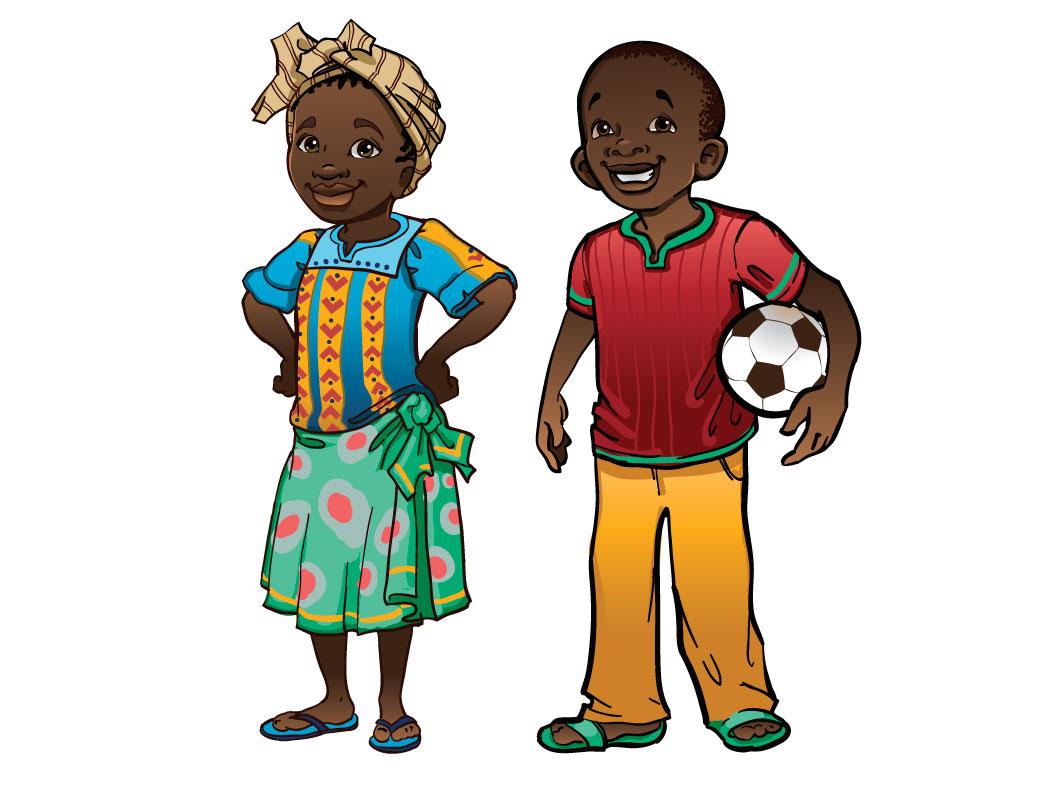 Cute African Kid Drawing